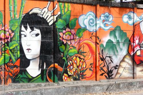 Foto op Aluminium Graffiti geisha_1