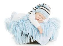 Baby Newborn Portrait, Boy Kid New Born Sleeping In Blue Hat