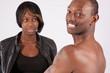 Black couple in romantic moment