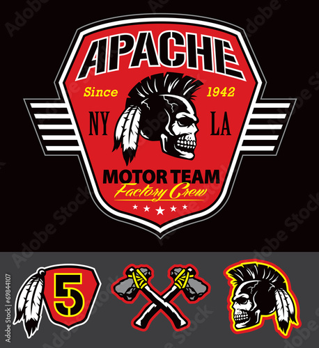 Photo Apache skull motor team graphic set