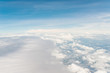 Airplane trace over the clouds