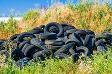 Old Tyres Polluting The Nature