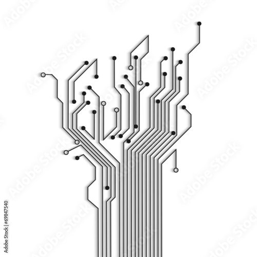 Fotografía  Abstract circuit tree with shadow