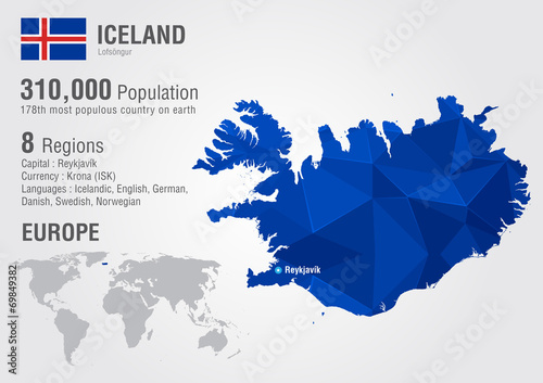 Photo Iceland island world map with a pixel diamond texture.