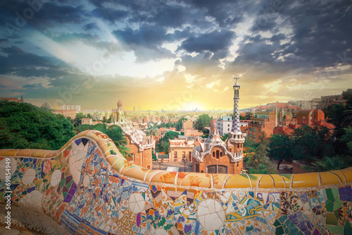 Canvas-taulu Park Guell in Barcelona, Spain