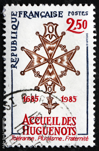 Fotografía Postage stamp France 1985 Huguenot Cross