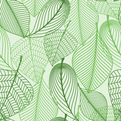Fototapeta Liście Green leaves seamless pattern background