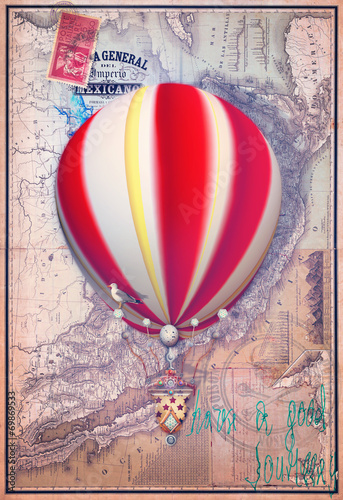 Poster Imagination Old map with red montgolfier