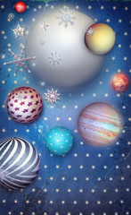 FototapetaStarry background with planets and moon