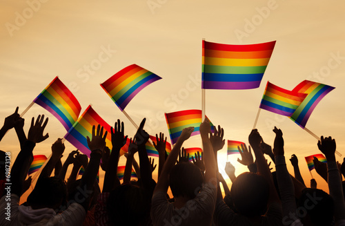 Photo Silhouettes of People Holding Gay Pride Symbol FLag