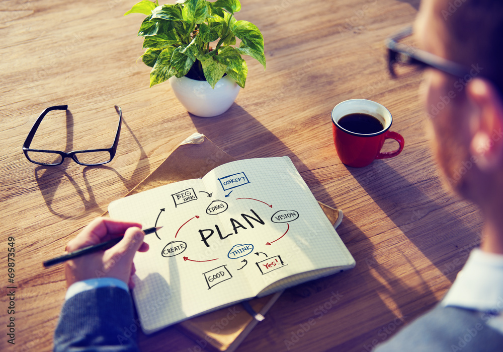 Fototapety, obrazy: Businessman Brainstorming About Planning