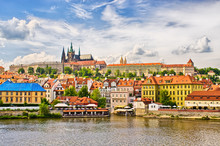 Vltava And Hradcany District In Prague, Czech Republic