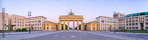 Brandenburg Gate in panoramic view, Berlin, Germany Canvas Print