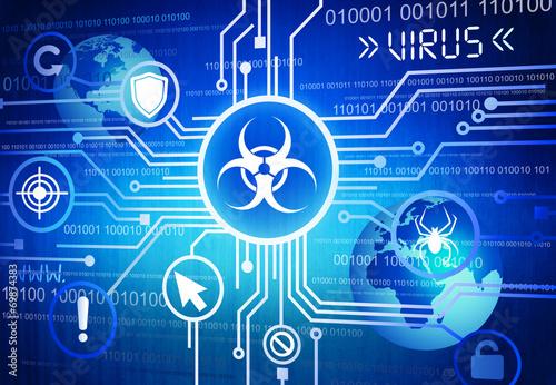 Fotografía  Digitally Generated Image of Online Virus Concept