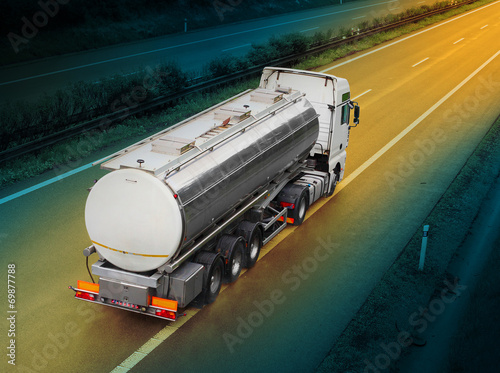 White tanker truck on the highway. Tableau sur Toile