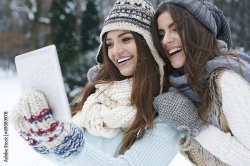 Sharing Their Online Photo Album In Winter Day Buy This Stock