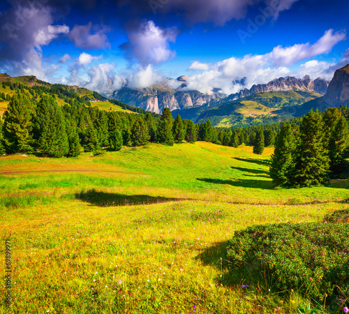 Tuinposter Purper Ferchetta mountain range at sunny summer day day. View from Sell