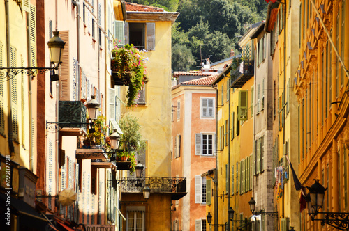 Spoed Foto op Canvas Nice Old town architecture of Nice on French Riviera