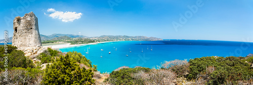 Panoramic view of Porto Giunco bay. Sardinia Island. Italy. Wallpaper Mural