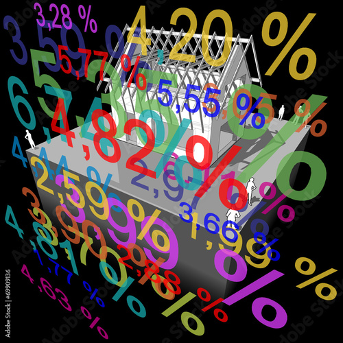 "Fotografía  House under construction  + ""interest rate percentage"" diagram"