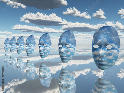 Canvas Print Repeating faces of clouds