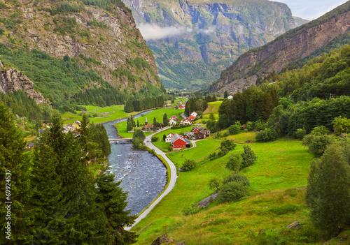 Fotografie, Obraz Village in Flam - Norway