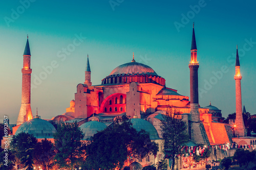 Hagia Sophia with sunset on a background Poster