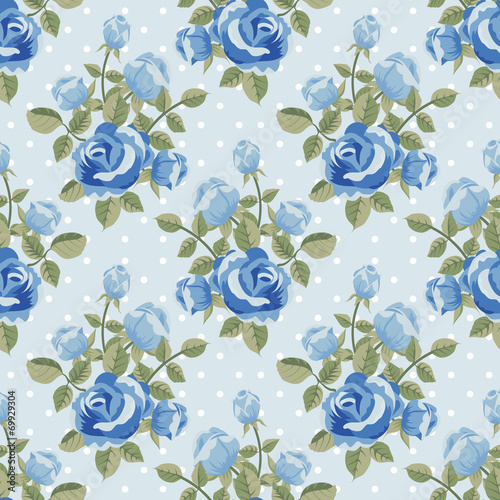 Foto-Plissee - Seamless pattern with blue roses (von irmaiirma)