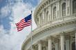 canvas print picture - Washington DC Capitol detail on cloudy sky