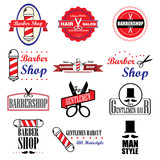 Set of vintage barber shop logo badge graphics and icons. Vector