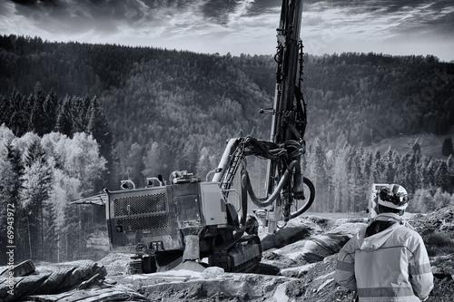 Obraz na plátne surveying instrument and rock blasting industry