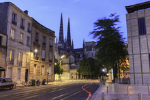 Night Time View Cathedrale Saint Andre Bordeaux France