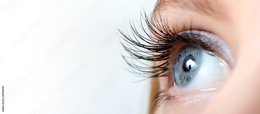 Fototapeta Female eye with long eyelashes close-up