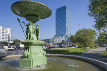 The Historic Fountain At Bankowy Square In Warsaw