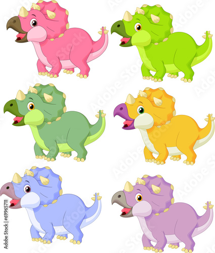 Poster de jardin Zoo Cartoon triceratops in different color