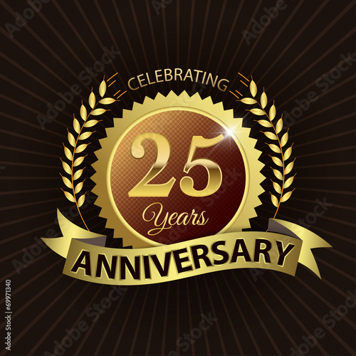 Poster  Celebrating 25 Years Anniversary - Laurel Wreath Seal & Ribbon