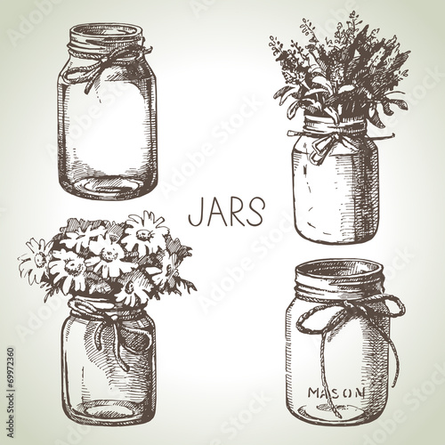 Rustic, mason and canning jars hand drawn set. Sketch design Slika na platnu