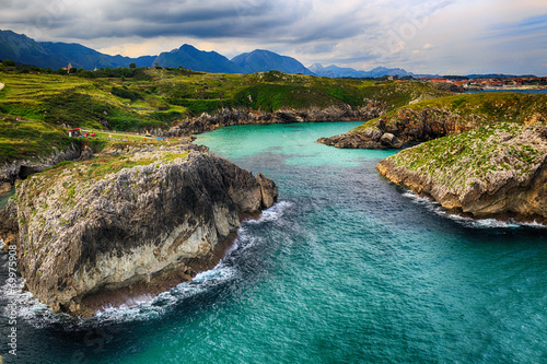 beautiful scenery with the ocean shore in Asturias, Spain Canvas Print