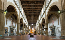 Interior Of Basilica Di Santa Croce, Florence, Italy. Inside Medieval Church.