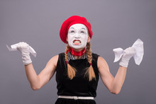 Portrait Of Female Mime Angry ...