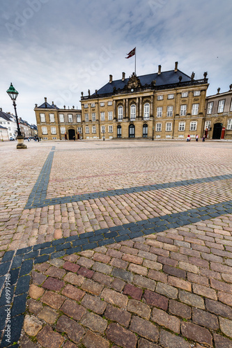 Castle Amalienborg with statue of Frederick V,Copenhagen,Denmark Wallpaper Mural