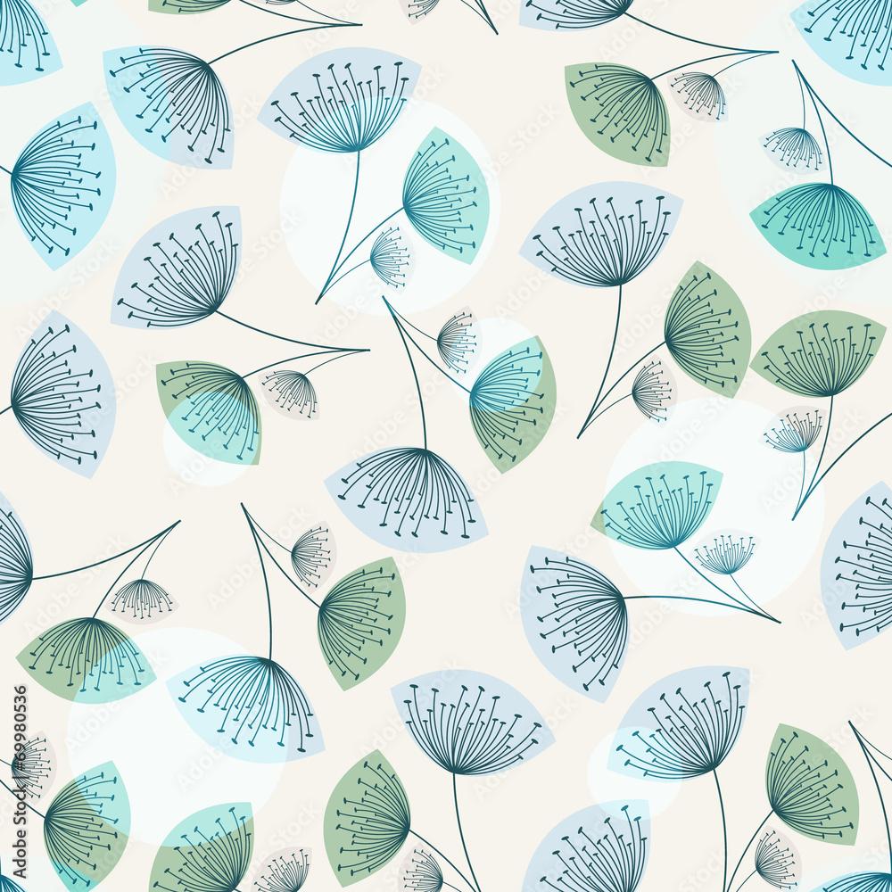 Fototapety, obrazy: Seamless dandelion pattern in trendy colors