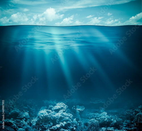 Fotobehang Koraalriffen Underwater coral reef seabed and water surface with sky