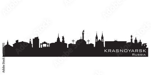Fototapeta Krasnoyarsk Russia city skyline Detailed silhouette obraz
