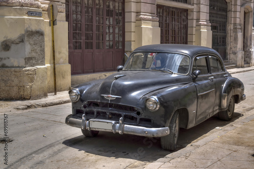 Classic black american car in Old Havana, Cuba Canvas Print