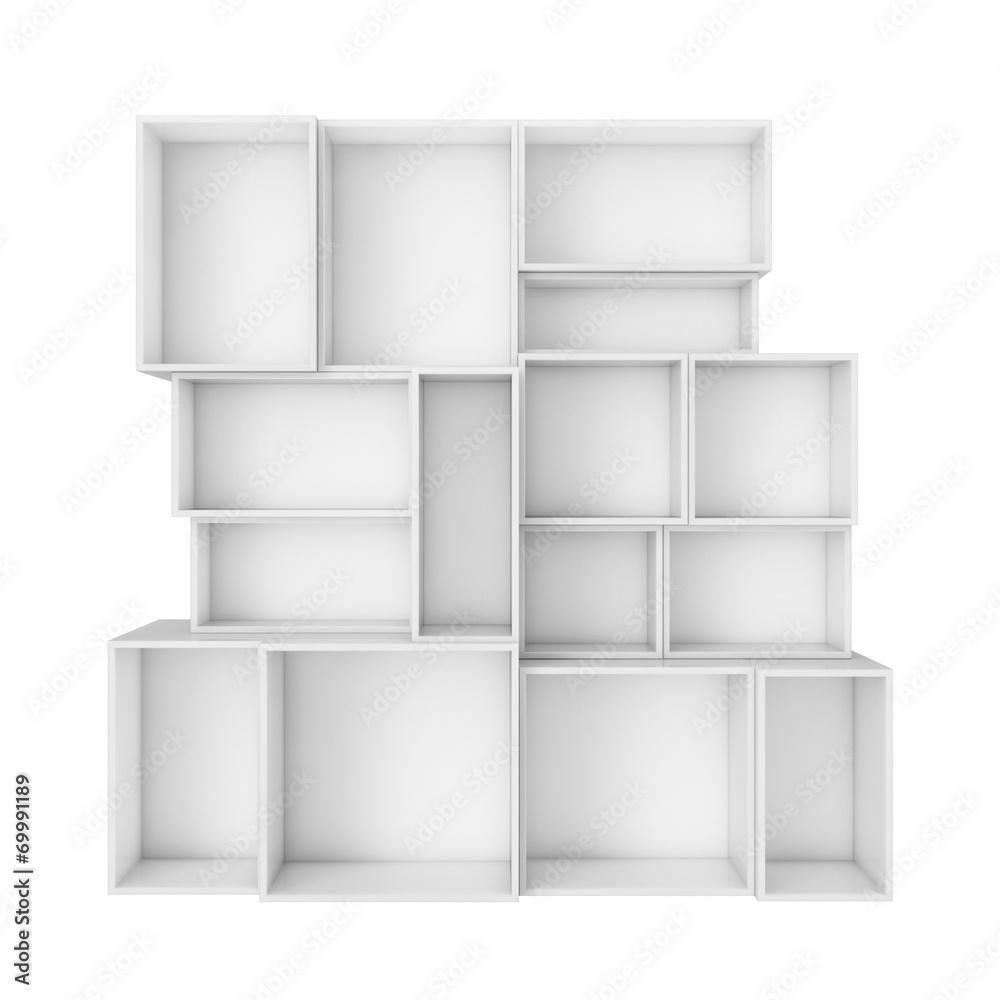 Fototapeta Na ścianę Puste Abstrakcyjne Białe Półki Na Białym Tle