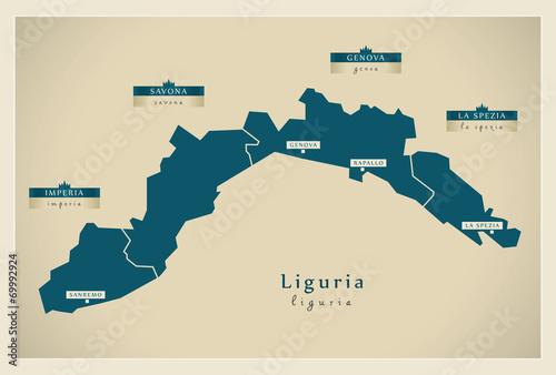 Photographie  Moderne Landkarte - Liguria IT