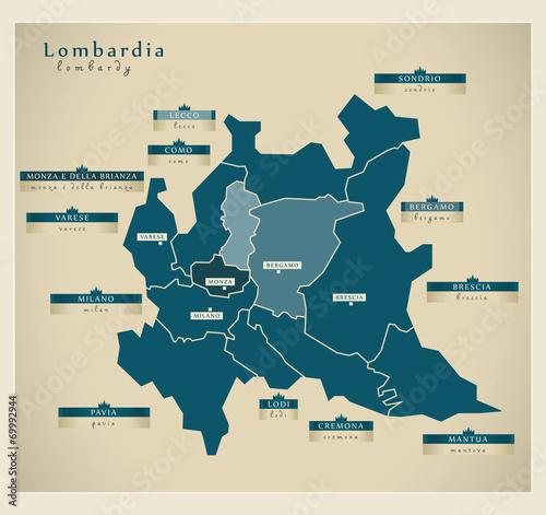Moderne Landkarte - Lombardia IT Wall mural