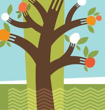 Abstract Fruit Tree Forks Illu...