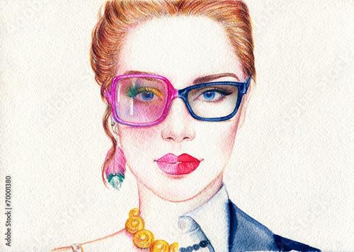 Poster Aquarel Gezicht woman portrait